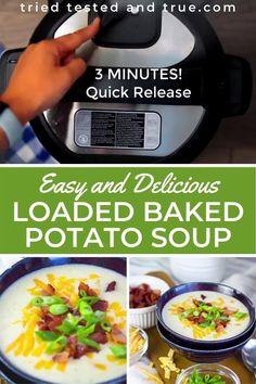 Instant Pot Potato Soup Recipe, Best Potato Soup, Cream Of Potato Soup, Instant Potatoes, Loaded Baked Potato Soup, Baked Potato Recipes, Best Instant Pot Recipe, Instant Recipes, Instant Pot Dinner Recipes