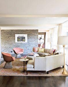 Stunning, well-balanced living room in Charlotte Lucas' home in Nashville, TN.