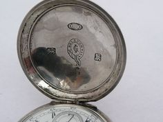 Rare Antique 44Mm Silver Turkish Ottoman Billodes Zenith Pocket Watch & Chain 9