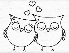 Shop for Hero Arts Heart Owls Wood Mounted Rubber Stamp . Get free delivery On EVERYTHING* Overstock - Your Online Scrapbooking Shop! Hand Embroidery Designs, Embroidery Stitches, Embroidery Patterns, Art Drawings For Kids, Easy Drawings, Hero Arts, Sewing Projects For Kids, Sewing Crafts, Owl Coloring Pages