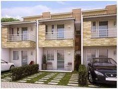 fachada de casa geminada duplex com espaço para garage