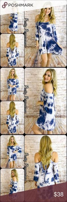 """Tie Dyed Cold Shoulder Bell Sleeve Dress NWT Tie Dyed Blue & White Cold Shoulder Bell Sleeve Dress  Available in S, M, L Measurements taken from a small  Length: 36"""" Bust: 36"""" Waist: 42""""  Rayon/Spandex Made in the USA   Features • bell sleeves  • all over tie dye print • exposed cold shoulders • ties at back w/open back detail • super soft, jersey material w/stretch • relaxed, easy fit  Bundle discounts available No pp or trades  Item # 1/102130380BWD tie dyed blue white indigo bell sleeves…"""
