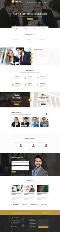 RIghtfirm is professional, modern crafted PSD template which can be used for law, lawyer, business and related to any legal company. It has 3 stunning homepage layout and 19 organized PSD Files. #lawyer #smallbiz #webdesign