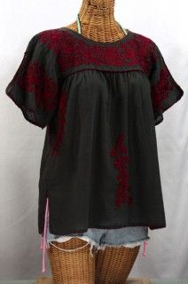 """""""La Lijera"""" Embroidered Peasant Blouse Mexican Style -Charcoal + Red"""