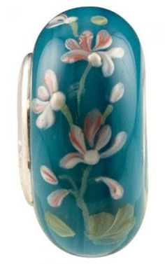Fenton Art Glass Artisan Crafted Bead - Atlantis Garden - Sterling Silver Lined