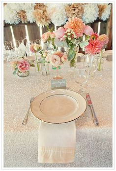 Love the sequin table cloth and colors ...... creams beige, pale pink Dahlias :)