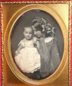 +~+~ Antique Photograph ~+~+ Stunning mother in a flowered bonnet gazing lovingly at her pretty baby.  Victorian Solstice www.victoriansolstice.it