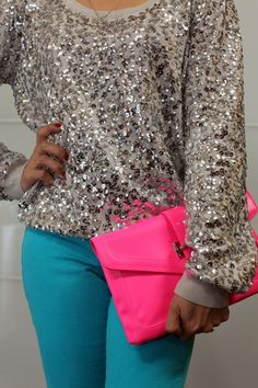 silver sequin sweater with brights