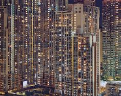 """awkwardsituationist: """" hong kong at night by michael wolf. hong kong has a population density of about 6800 people per sq km """" Wolf Photography, Urban Photography, Street Photography, Hong Kong Architecture, Unique Architecture, Hong Kong Night, Michael Wolf, World Cities, Urban Life"""