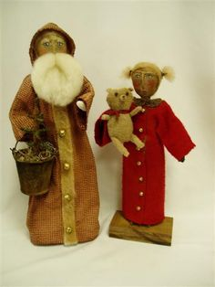 Primitive OldeWorld Santa and Girl with Bear by leighsstonehouse