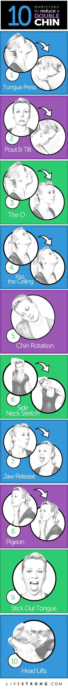 10 great exercises to tone your neck and chin.