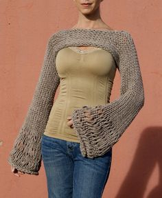 This chic and simple design came from a customer that requested a shrug that was closed in front as well as the back, so this is one of the