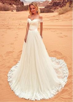Buy discount Fantastic Tulle Off-the-shoulder Neckline A-line Wedding Dress With Lace Appliques at Dressilyme.com