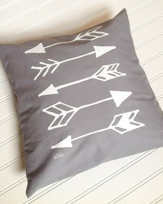 Grey Pillow Cover Arrows in White Screen Print Home by KitchTowels, $15.00