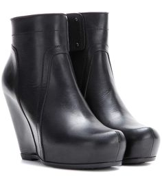 mytheresa.com - Classic Leather Wedge Ankle Boots ♦ Rick Owens : mytheresa - Luxury Fashion for Women / Designer clothing, shoes, bags