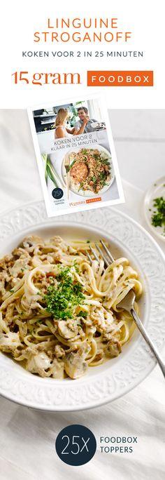Stroganoff is een van oorsprong Russische saus met room en champignons. Mij maken er onze eigen versie van, met lichte roomkaas in combinatie met rundsgehakt! Linguine, Happy Foods, Everyday Food, Pasta Dishes, Pasta Recipes, Food Inspiration, Great Recipes, Foodies, Good Food