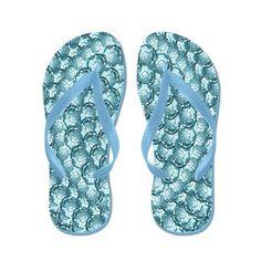 Sold 6 pair Blue Bubble Pinpoint Flip Flops #CP