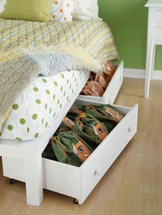 När man har dåligt med förvaringsutrymme  är det smart att använda utrymmet under sängarna till förvaring .   Vi har gjort det till och från...