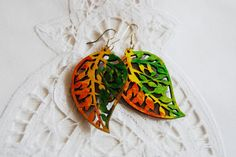 happy autumn leaves Colours painted earrings hand by ArtGlassGreen, $18.00