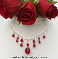 """""""Crystal necklace tutorial"""" (quote) via how-to-make-beaded-jewelry.com"""