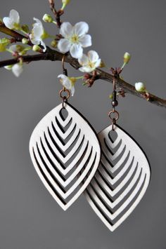 Laser Cut Wood Earrings                                                       …