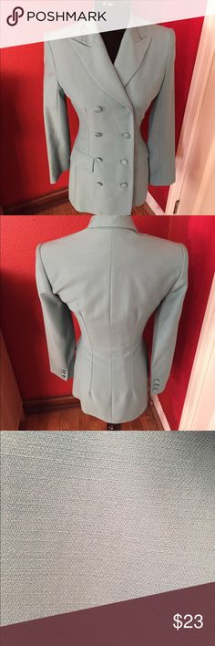 """Karen Millen England Teal Long Blazer Perfect condition only worn a few times and I keep it in my closet. I no longer use business wear because I work from home.  PRODUCT DETAILS * 8 Frontal Buttons * It has 2 front pockets sewed shut because I never used them but if the thread is un done you will have two deep  pockets. * Lined. * Dry clean. * Pure New Wool * Peaked lapels * 3 Faux buttons at cuffs.  Measurements: * Shoulder to shoulder: 16"""" * Body length: 26 1/2"""" long * Sleeve length: 22""""…"""