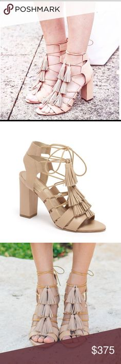 "Loeffler Randall Luz Lace-Up Sandal Wheat Sz 7 NIB Lace-up sandal in wheat vachetta with tassels 3.5""/ 90mm stacked leather heel and leather sole.  