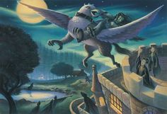 """Rescue of Sirius"" by Mary GrandPre Taken from the third book in the Harry Potter series; ""Harry Potter and the Prisoner of Azkaban"", this image reveals Sirius Black's escape from Hogwarts upon the back of a hippogriff. Harry Potter Fan Art, Harry Potter Book Covers, Harry Potter Drawings, Harry Potter Universal, Harry Potter World, Harry Potter Siempre, Harry Y Hermione, Ron Weasley, Hermione Granger"