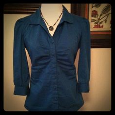 Turquoise Ruched  Front Button Up Blouse
