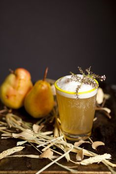 A Roll in the Hay (Le Compte Five-Year Calvados that has been infused with toasted hay, Madeira, honey syrup, lemon juice, fresh-pressed pear juice, orange bitters, fermented pear or apple cider, meringue)