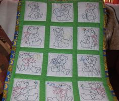 Teddy bear baby quilt pattern from Jack Dempsey needle art with variations. http://www.jdneedleart.com/baby-bears-nursery-quilt-blocks.html