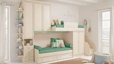 Modern Kids Bunk Beds Design with Green Color Styles