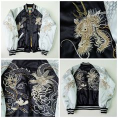 Vintage Japanese Black Dragon Ryu Silver HOSHIHIME Tattoo Art Embroidery Embroidered Sukajan Souvenir Jacket - Japan Lover Me Store