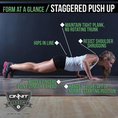 Form at a Glance: Staggered Push Up #workout Wednesday Workout, Workout Days, Gym Workout Tips, Workout Music, Fit Board Workouts, Push Up Workout, Fitness Tips, Fitness Motivation, Personal Gym