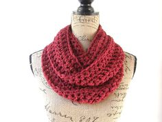 Cranberry Dark Red Cowl Scar... from SouthernStitchesCo on Wanelo