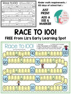 Most Popular Teaching Resources: Race to 100 for 100 Days of School - Liz's Early L...
