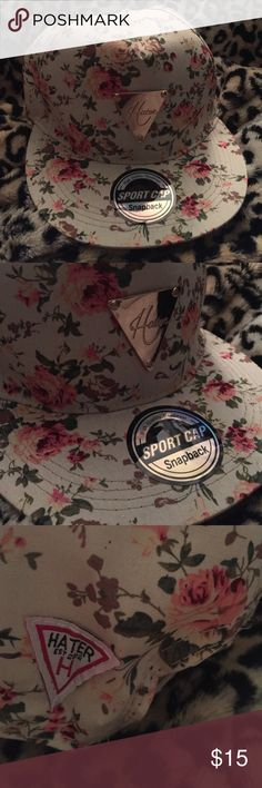 Beige tan floral snap back ball cap hater hot Super cute floral cap new and unworn without tag. Super cute vintage flare with and urban twist. Kardashian chic Topshop Accessories Hats