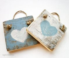 Two rustic wooden decoration - heart - wall hanging home decoration - blue
