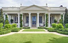 Palm Beach mansion -love this porch.would love to see what their view is. Greek Revival Architecture, Neoclassical Architecture, Architecture Design, Beach Mansion, Beach House, Palm Beach Regency, Greek Revival Home, Mansion Designs, Web Design