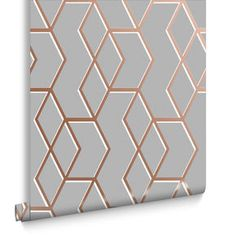Archetype Grey & Rose Gold Wallpaper, , large | Graham and Brown