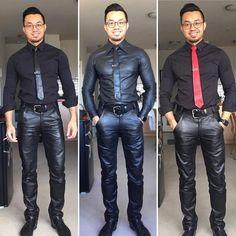 Mens Leather Pants, Tight Leather Pants, Leather Blazer, Men's Leather, Men In Tight Pants, Mens Wardrobe Essentials, Mens Fashion Suits, Men's Fashion, Satin Shirt