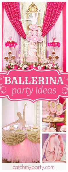 Don't miss this amazing Ballerina birthday party. The ballerina dessert table is incredible!! See more party ideas and share yours at CatchMyParty.com