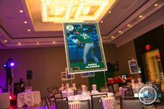 Bar Mitzvah Centerpieces - Giant Baseball Cards {Sweet Dreams Photo Video}. View More Baseball Party Theme Ideas - www.mazelmoments.com/blog/11096/baseball-wedding-bar-bat-mitzvah-sweet-16-party/