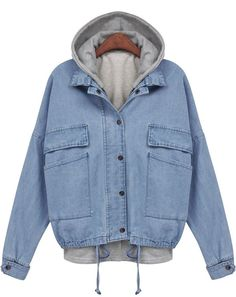 Blue Hooded Drawstring Denim Two Pieces Outerwear 23.99