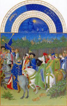 gebr. Van Limburg, Très riches heures du Duc de Berry (1411-1416) Musée Condée Chantilly. maand mei. Lentefeest gebaseerd op het oude Keltische vruchtbaarheidsfeest Beltane waarbij men in optocht de natuur en de velden introk om te dansen en elkaar het hof te maken. Wie iets groens had trok dat aan. Een groep edelen trekt vanuit Parijs de natuur in.