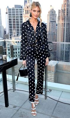 Martha Hunt in a black and white polka dot pajama-style blouse, matching pants, white bow-embellished sandals and a black bag at the Chicago Bra Fit Experts' All New Sexy Illusions Collection event in Chicago. Womens Fashion Online, Latest Fashion For Women, Pijamas Victoria Secrets, Look Fashion, Fashion Outfits, Mens Sleepwear, Victoria Secret Pajamas, Look Street Style, Martha Hunt