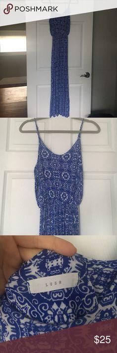 Lush Printed Maxi Dress Lush, royal blue and white printed cotton rayon and spandex knit maxi dress. Elastic waistband and adjustable straps. Lush Dresses Maxi