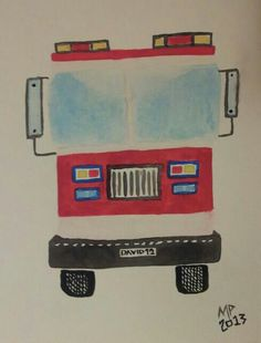 Fire engine front view watercolour Fire Engine, New Hobbies, Watercolour, Engineering, Pen And Wash, Watercolor Painting, Firetruck, Mechanical Engineering, Fire Truck