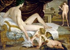 Sustris: Venus and Cupid (and Mars)_a ReVision  Revision of a painting by Lambert Sustris in 1560 and part of my ReVision series where the original female nude figure is replaced with a male nude figure. Painters often painted nude females but the male figure is almost always clothed (as was Mars in the original of this painting.) To see the original painting see the previous photo in this stream.