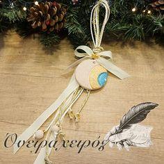 Κεραμικό κρεμαστό γούρι μάτι σε συσκευασία δώρου Xmas, Christmas Ornaments, Decoupage, Greek, Holiday Decor, Handmade, Design, Home Decor, Accessories